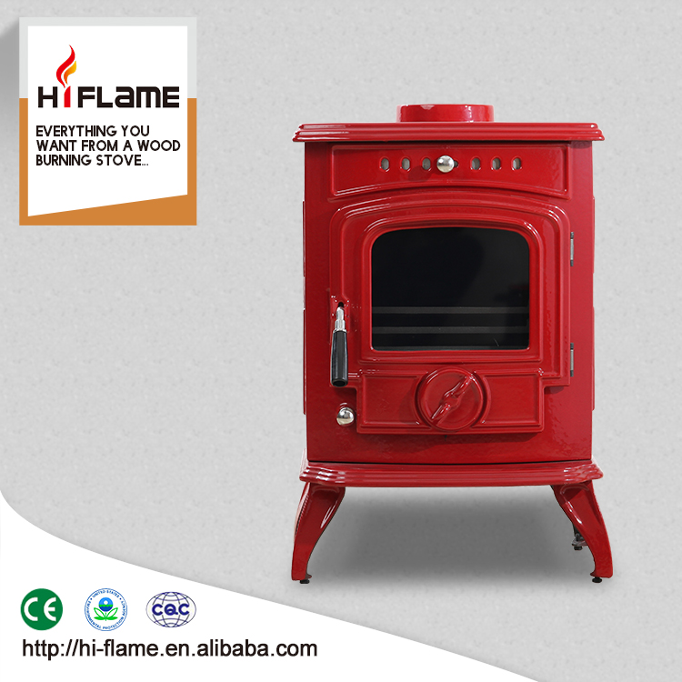 Brand new HiFlame 2016 wood stove fan with cast iron door HF332E Red