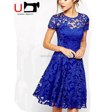 High Quality Fashion Online Shopping Ladies Clothing Manufacture Lace Clothing Sexy Short Sleeve Women Evening Party Dress