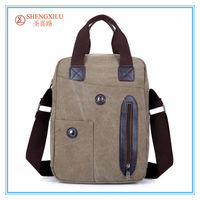 Online fashion canvas shoulder bag for men tote canvas handbag with leather