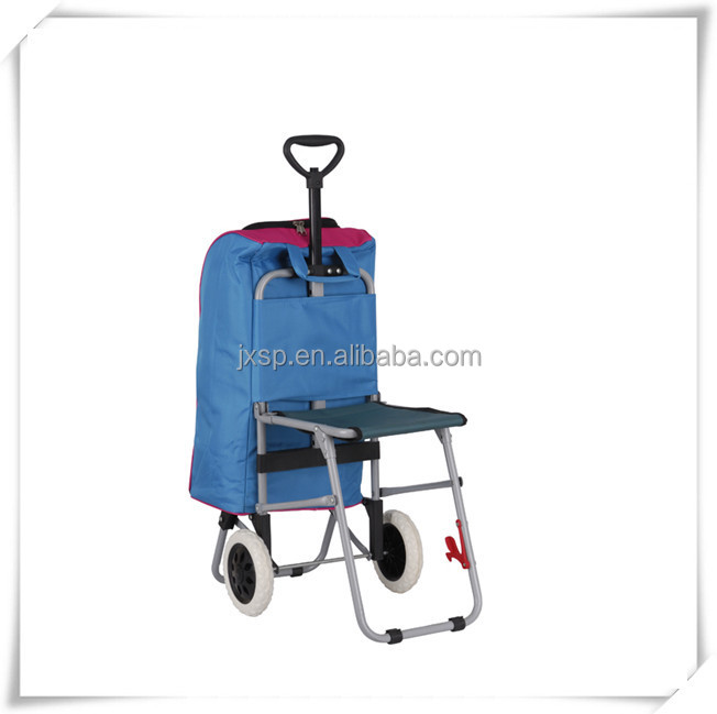 Free wind hand caddy shopping trolley cart with foldable chair