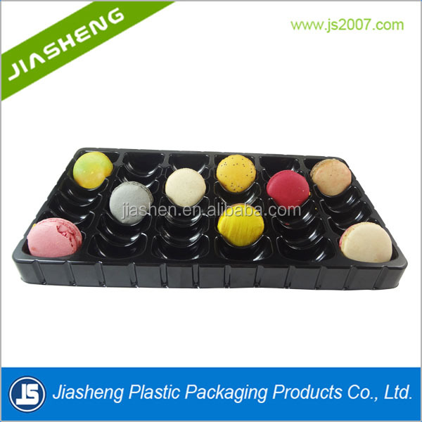 36pcs wholesale blister clamshell plastic macaron cake packaging tray with lids