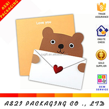 2017 yiwu hotsales Wholesales fashion writable 3D shape paper gift card& invitations