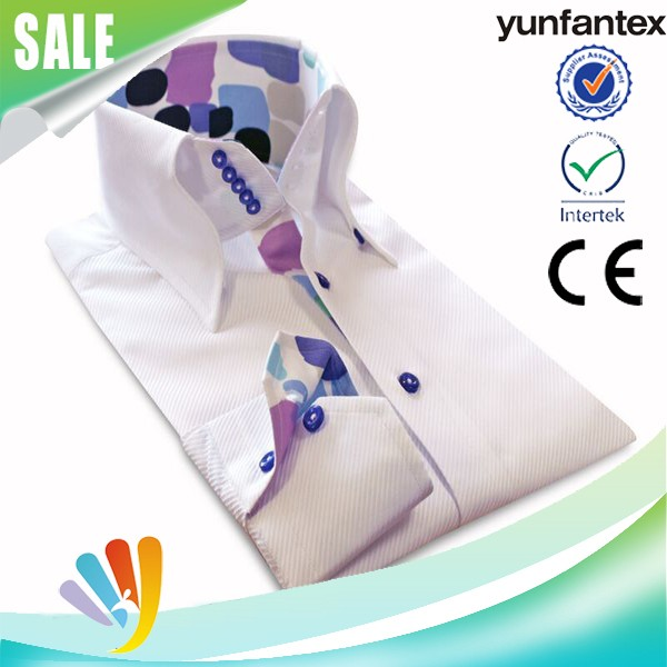 2017 100 cotton woven summer long sleeve leisure PCM shirt for men high quality yunfantex OEM & ODM service