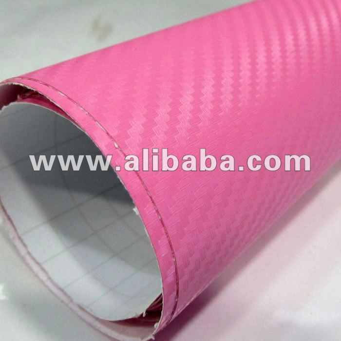 Car Wrap 3D Carbon Fiber Vinyl Film With Air Free Bubbles Pink