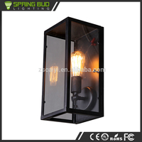 Country style Pandora glass box shaped vintage bedroom indoor wall lamp