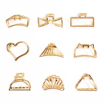 Personality geometric simplicity Metal hollow small grab hairpin alloy clip