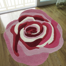 pink flower 100% polyester handtufted floor shaggy carpets