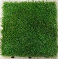 Interlocking PP plastic tiles with artificial grass