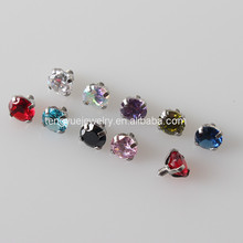 G23 Titanium Wholesale Body Jewelry Zircon Bezel Set Charming Dermal Tops