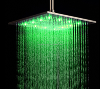 "12"" square LED color changing Rainfall shower head shower panel"