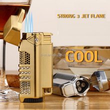 Wholesale Windproof High Quality Metal 3 Jet Flame Torch Cigarette Lighter Refillable