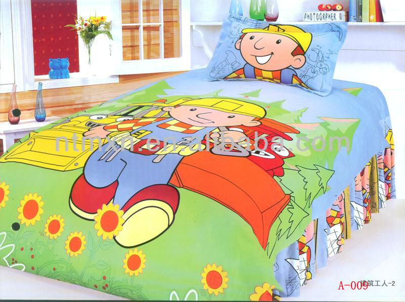 Green Cartoon Kids Twin Size Bedding Sheet Comforter Set Twin 2pc Bedsheet Set Single Bedding
