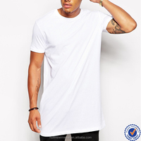 China wholesale custom fashion leisure extra long length men plain t-shirts