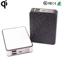 Universal portable leather surface wirless power bank qi mobile phone wireless charger