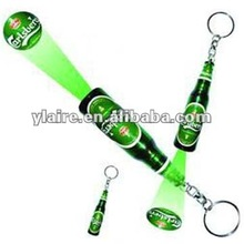 led Plastic bottle shape beer projector keychain