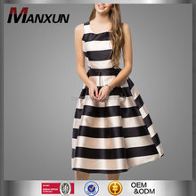 New Fashion Women Summer Sleeveless A Line Evening Dress Striped Sexy Elegant Skater Dress