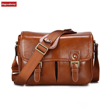 Osgoodway New Products Large Waterproof Vintage PU Leather DSLR Camera Bag Cross Body Portable Case