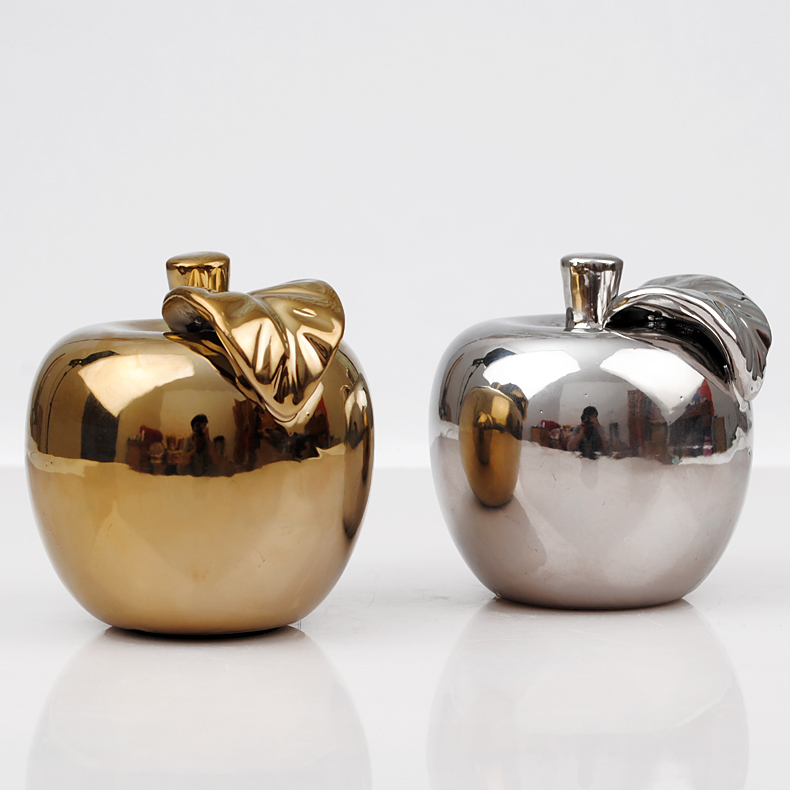 Lucky modern gift apple gold,silver plating china ceramic home decoration pieces