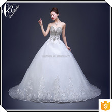 High Quality Tulle Crystal Pearl Sweetheart Alibaba Wedding Dress 2017 Heavy Beaded Wedding Gown