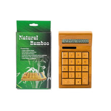 Promotion Gift 12 Digits Lcd Wooden Solar Power Calculator With Printing