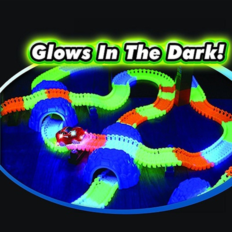 Toy magic race track car glow in the dark race track