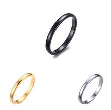 2 mm Thin Band IP Black Plating High Polish Tungsten Carbide Latest Gold Finger Ring Designs Wedding Ring