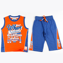 Orange and Blue Boy Sport Suit Loose Sleeveless Clothes and Elastic Cord Belts Pocket Pants for Running Play Basketball