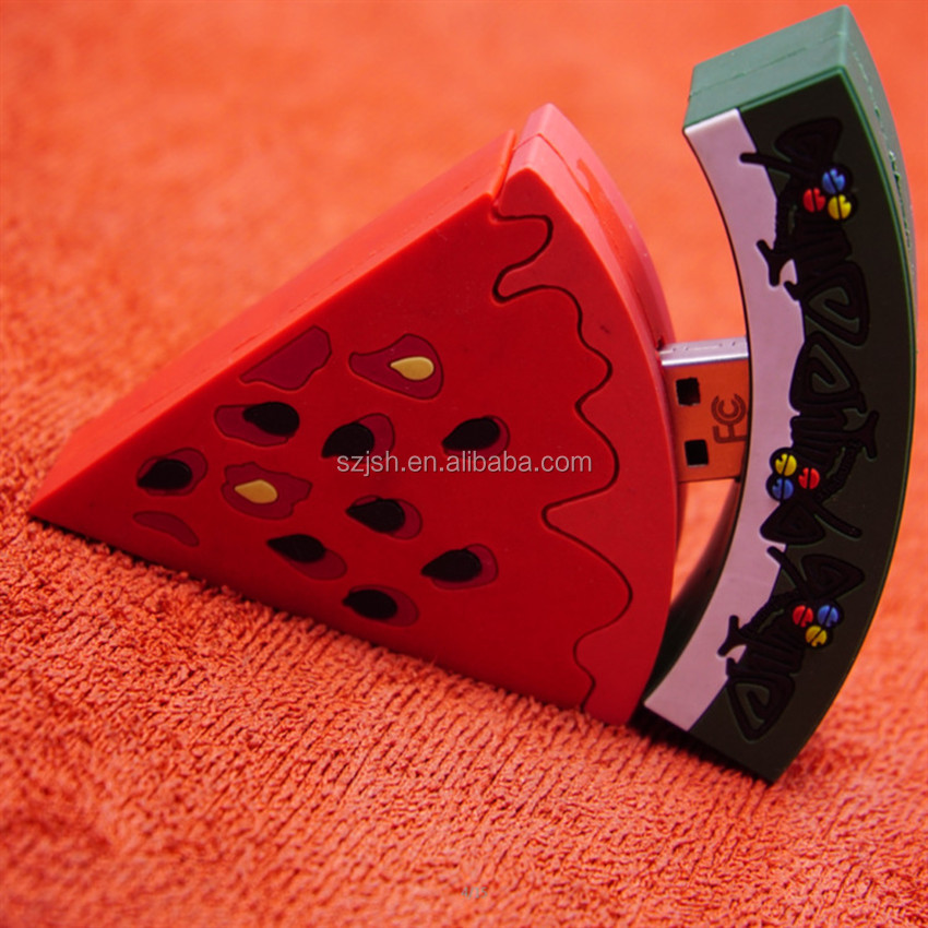 Watermelon shaped USB flash drives PVC Cartoon promotion 3d PVC USB 8GB rubber soft pvc mini usb flash memory /stick 2.0