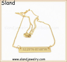 Wholesale jewelry Sland gold bar initial necklace custom engravable stainless steel necklace