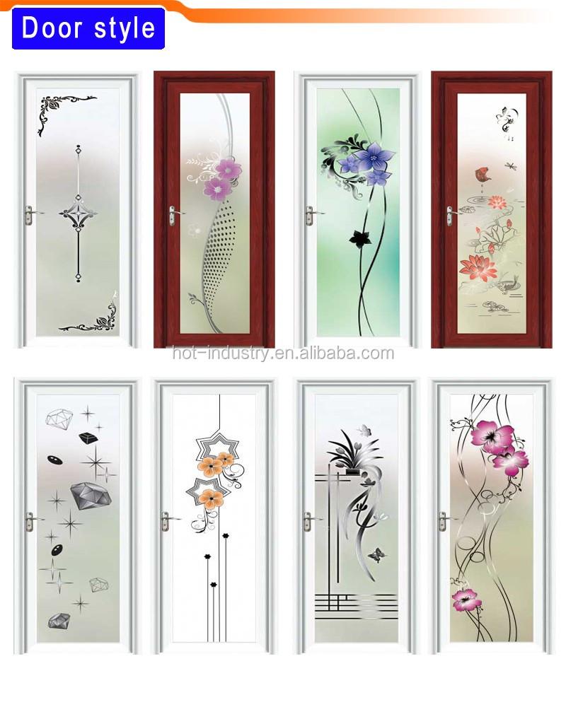 Chinese Knot Pattern Glass Door Light Green Aluminum Bathroom Door ...