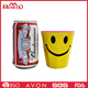 Cheap yellow color plastic beer cup, smile face printing reusable melamine drinking cup