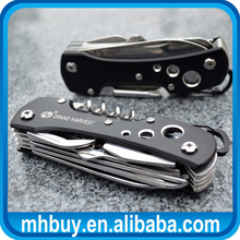 OEM high quality 14 functions Multi purpose tool Swiss Knife outdoor pocket rescue survival knives with carabiner EDC gift tool