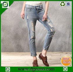High quality cotton latest design destroyer western girls and women BF style ladies brushed denim jeans pants