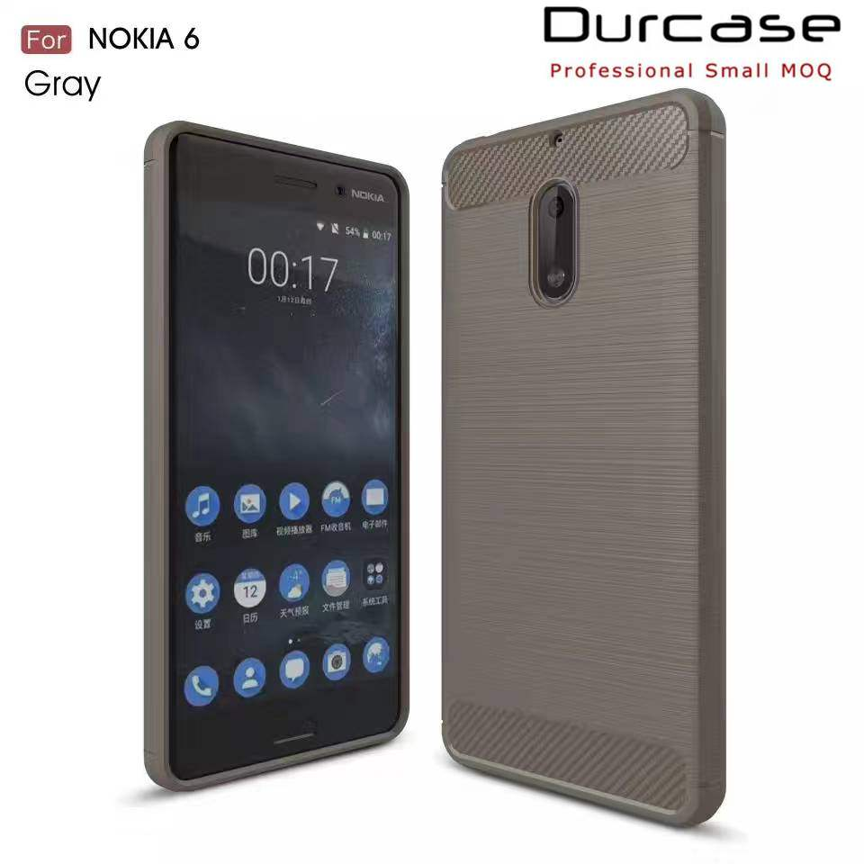 Custom Made wholesale TPU Cell Phone Case For Nokia 6 Brush Carbon Fiber Cases