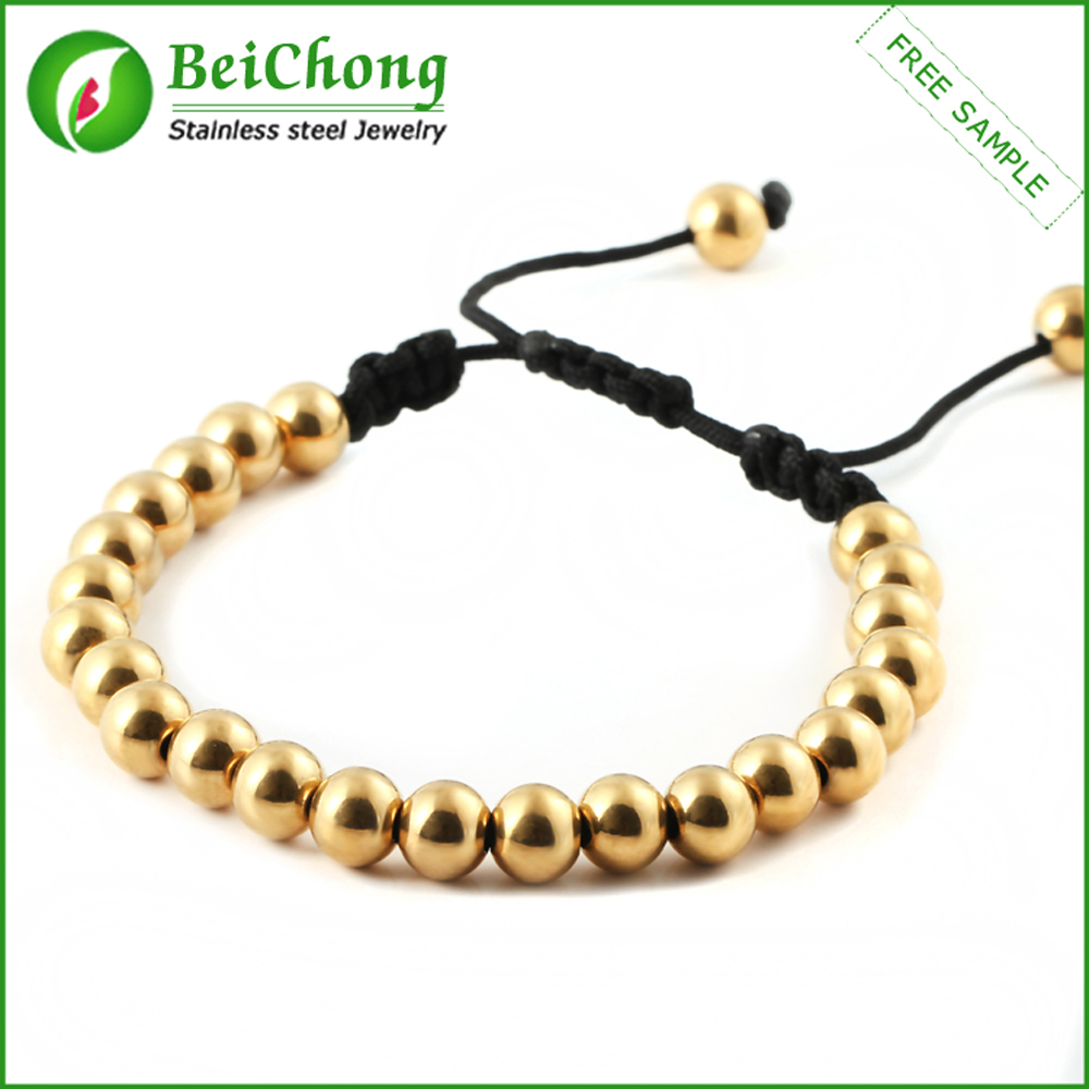 New Gold Bracelet Designs Chain Woven Stainless Steel Bead