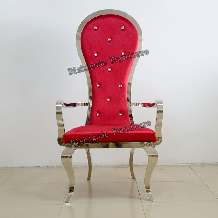 Royal Styles Luxury High Back Red Velvet Stainless Steel Wedding Chair For  Bride And Groom