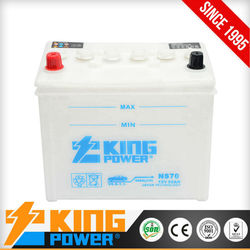 Best quality and good price dry charged Auto batteries NS70 King Power China manufacturer
