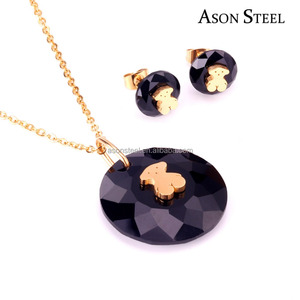 Bling Bling Real 18K Gold Stainless Steel Purple Crystal Bear Jewelry Sets Earrings for Wholesale Sale