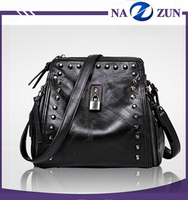 2016 hot style fashion pu leather shoulder bag rock roll beautiful girl rolling backpack