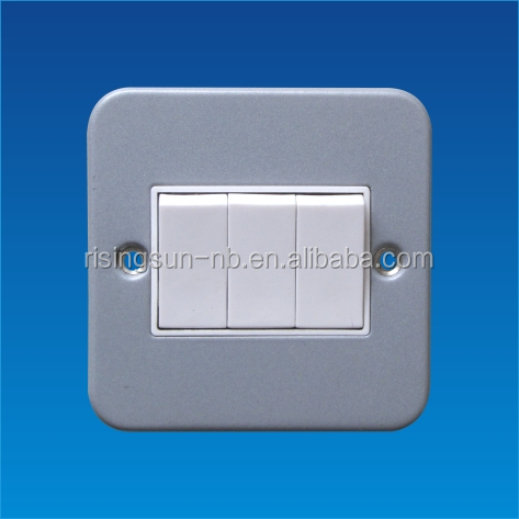 British standard metal clad 3 gang 1 way wall switch