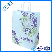 China Supplier Customized Brand thin white Kraft Paper Bag With print Logo