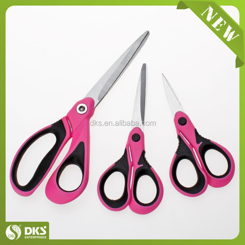 "SH13018/3-GB 8"", 6"", 5"" STYLISH INLAYED SOFT GRIP FULLY MOULDED HANDLES SUPERIOR FINISH HOT SCHOOL SCISSORS SET"