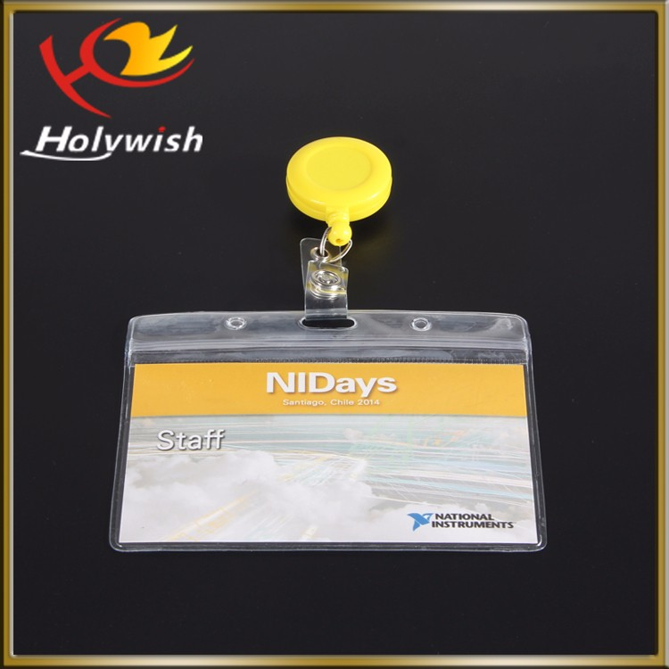 Holywish Custom Hard Plastic Transparent Horizontal Clear id Badge card holder cover