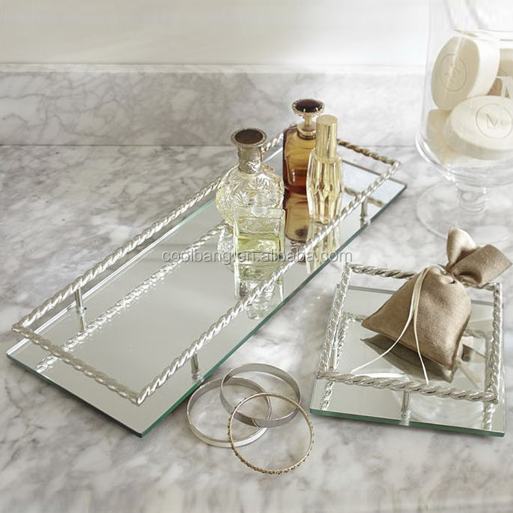 Fashion wholesale bathroom large cocktail tray serving trays with handles