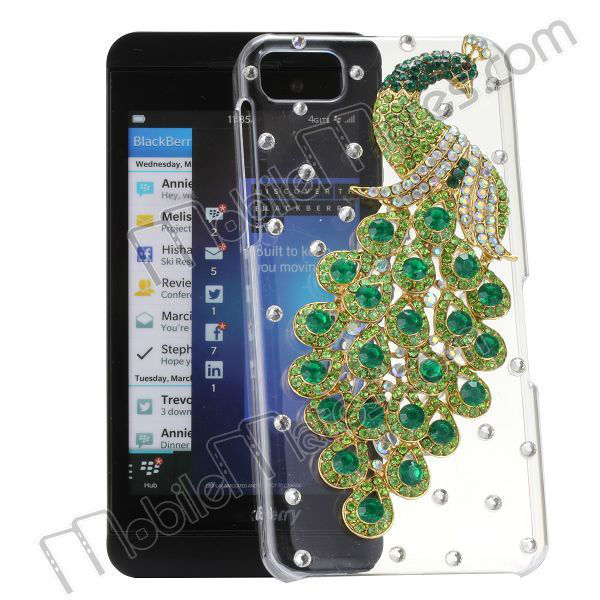 Fashion Bling Jewel Studded Peacock Crystal Case Transparent Hard Case for Blackberry Z10