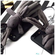 2018 New arrivals cute 3D fluffy soft Bunny TPU mobile phone case For iPhone 6s 7 8 Plus X