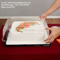 High Quality 2-3 Layer Sheet Plastic Rectangular Cake Display Container Packaging Box with Clear Lid