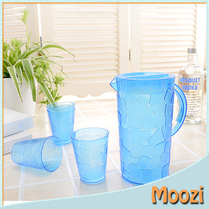 PP plastic clear blue pitcher set with 4 cups