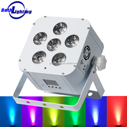 6x18w rgbwa uv 6in1 IRC remote control wireless battery powered dmx LED uplighting led flat par can light