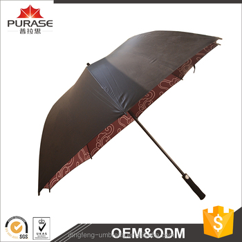 Dingfeng Factory Custom Print 100cm Long Straight Double Layer Automatic Open Straight Golf Umbrella